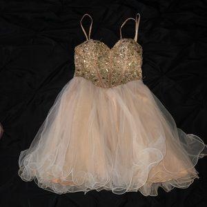 strapless diamond prom dress